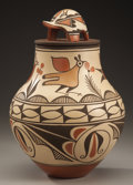 American Indian Art:Pottery, A ZIA POLYCHROME LIDDED JAR. Elizabeth Medina. c. 1985...