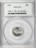 Mercury Dimes: , 1928 10C MS65 Full Bands PCGS. PCGS Population (210/112). NGCCensus: (93/37). Mintage: 19,480,000. Numismedia Wsl. Price f...