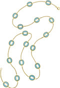 Estate Jewelry:Necklaces, Turquoise, Gold Necklace. ...