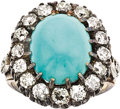 Estate Jewelry:Rings, Victorian Turquoise, Diamond, Silver-Topped Gold Ring. ...