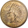 Patterns, 1859 P1C Indian Cent, Judd-228, Pollock-272, R.1, MS64 NGC....