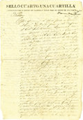 Autographs:Non-American, Rafael Manchola Document Signed on Sealed Paper of the State ofCoahuila and Texas....