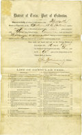 Political:Miscellaneous Political, [William Seward] Port of Galveston Printed Document. ...