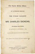 Books:First Editions, [Charles Dickens]. The Charles Dickens Dinner. An AuthenticRecord of the Public Banquet Given to Mr. Charles Dickens,...