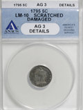 Early Half Dimes: , 1795 H10C --Damaged, Scratched--ANACS. AG3 Details. LM-10. NGCCensus: (1/327). PCGS Population (5/468). Mintage: 78,600. N...