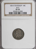"Bust Dimes, 1814 10C ""STATESOF"" Small Date VF25 NGC. JR-5. NGC Census: (1/36).PCGS Population (0/19). Numismedia Wsl. Price for NGC/..."
