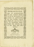 "Miscellaneous:Ephemera, Printed Petition Regarding Retail Business in Nuevo Leon. Sevenpages, 6.25"" x 8.5"", November 18, 1828. With this imprint, t..."