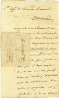 "Autographs:Non-American, Juan Antonio Padilla Autograph Document Signed. One page, twosided, 8"" x 13.25"", Nacogdoches, April 10, 1832. Juan Antonio ..."