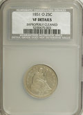 Seated Quarters: , 1851-O 25C --Improperly Cleaned--NCS. VF Details. NGC Census:(0/13). PCGS Population (2/19). Mintage: 88,000. Numismedia Ws...