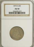 Seated Quarters: , 1875-S 25C AU50 NGC. NGC Census: (1/66). PCGS Population (1/57).Mintage: 680,000. Numismedia Wsl. Price for NGC/PCGS coin ...