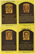 Autographs:Post Cards, New York Yankees Signed Gold Hall of Fame Plaques Lot of 4. Four Hall of Fame members of the hallowed New York Yankees orga...