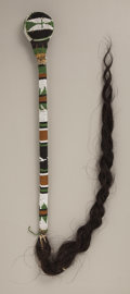 American Indian Art:Beadwork and Quillwork, AN APACHE BEADED HIDE STONE HEAD CLUB. c. 1890...