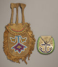 American Indian Art:Beadwork and Quillwork, TWO GREAT LAKES BEADED HIDE POUCHES. c. 1900. ...