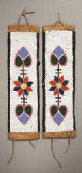American Indian Art:Beadwork and Quillwork, A PAIR OF OJIBWA BEADED CLOTH ARMBANDS. c. 1910... (Total: 2 Items)