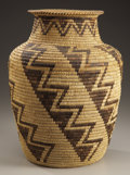 American Indian Art:Baskets, A PAPAGO COILED STORAGE JAR. c. 1920...
