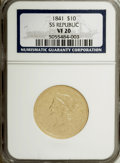 Liberty Eagles: , 1841 $10 VF20 NGC. Ex: S.S. Republic. NGC Census: (0/166). PCGSPopulation (2/129). Mintage: 63,131. Numismedia Wsl. Price ...