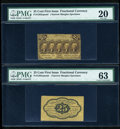 Fractional Currency:First Issue, Fr. 1282SP 25c First Issue Narrow Margin Pair PMG Very Fine 20/63.... (Total: 2 notes)