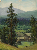 Fine Art - Painting, Russian:Modern (1900-1949), MIKHAIL KOMISSAROV (Russian, 20th Century). Near Zlatoust,1952. Oil on board. 8-1/2 x 6-1/4 inches (21.6 x 15.9 cm). Da...