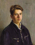 Fine Art - Painting, Russian:Contemporary (1950 to present), GRIGORI TSEITLIN (Russian, 1911-1997). Portrait of aStudent, 1954. Oil on canvas. 33 x 29 inches (83.8 x 73.7 cm).Sign...