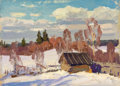 Fine Art - Painting, Russian:Contemporary (1950 to present), NIKOLAI ULIANOV (Russian, b. 1922). Winter Landscape, 1961.Oil on board. 5 x 7 inches (12.7 x 17.8 cm). Inscribed verso...