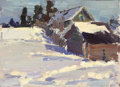 Fine Art - Painting, Russian:Contemporary (1950 to present), NIKOLAI ULIANOV (Russian, 1922-). Winter Dacha, 1963. Oil onboard. 5 x 7 inches (12.7 x 17.8 cm). Inscribed verso in Cy...