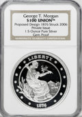 """Patterns, Private """"1876 $100 Union"""" Ultra Cameo Gem Proof NGC. 1.5 ounces of .999 fine silver. Struck by the private New York Mint in ..."""