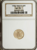 Modern Bullion Coins: , 1994 G$5 Tenth-Ounce Gold Eagle MS70 NGC. NGC Census: (445/0). PCGSPopulation (6/0). Mintage: 206,380. Numismedia Wsl. Pri...