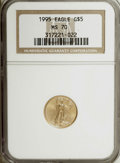 Modern Bullion Coins: , 1995 G$5 Tenth-Ounce Gold Eagle MS70 NGC. NGC Census: (129/0). PCGSPopulation (8/0). Mintage: 223,025. Numismedia Wsl. Pri...