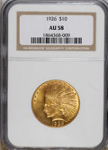 Indian Eagles: , 1926 $10 AU58 NGC. NGC Census: (233/21003). PCGS Population(424/19807). Mintage: 1,014,000. Numismedia Wsl. Price for NGC/...