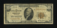 Fr. 1860-I $10 1929 Federal Reserve Bank Note. Very Good-Fine. Minneapolis had the second lowest printing for FRBN $10s...
