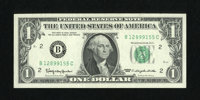Fr. 1900-B $1 1963 Federal Reserve Note. Choice Crisp Uncirculated. This is the first or second scarcest block for the 1...