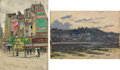 Fine Art - Painting, Russian:Modern (1900-1949), ARNOLD BORISOVICH LAKHOVSKY (Russian, 1880-1937). CityCorner and Landscape (a pair), circa 1920. Oil oncardboa... (Total: 2 Items)