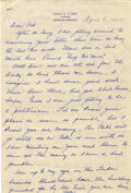 Autographs:Others, Earle Combs Handwritten and Signed Letter. A hand written letter onpersonal stationary from the New York Yankee Hall of Fam...