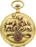 "Timepieces:Pocket (post 1900), Swiss Gold ""Dog Motif"" watch, circa 1910. ..."