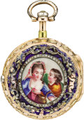 Timepieces:Pocket (pre 1900) , Abraham Colomby Early Quarter Hour Repeater with Enamel, TwotoneGold Case, circa 1760. ...