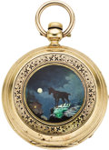 Timepieces:Pocket (pre 1900) , Louis Jacot Enamel, Gold Hunters Case, circa 1875. ...