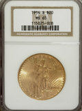 Saint-Gaudens Double Eagles: , 1914-S $20 MS65 NGC. NGC Census: (1267/102). PCGS Population(1741/91). Mintage: 1,498,000. Numismedia Wsl. Price for NGC/P...