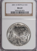 Modern Issues, 2001-D $1 Buffalo Silver Dollar MS69 NGC. PCGS Population (8369/143). Numismedia Wsl. Price for NGC/PCG...