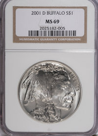 2001-D $1 Buffalo Silver Dollar MS69 NGC. NGC Census: (0/0). PCGS Population (8369/143). Numismedia Wsl. Price for NGC/P...