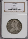 Bust Half Dollars: , 1824 50C G6 NGC. O-117. NGC Census: (1/643). PCGS Population(0/641). Mintage: 3,504,954. Numismedia Wsl. Price for NGC/PC...
