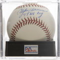 "Autographs:Baseballs, Andre Dawson ""77 NL ROY"" Single Signed Baseball, PSA Mint 9. TheHawk places an inscription on this orb making note of his s..."
