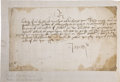 Autographs:Non-American, King James V of Scotland Signed Document,...