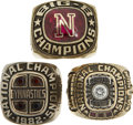Miscellaneous Collectibles:General, 1981-84 University of Nebraska Championship Rings Lot of 3. Thisattractive collection of jewelry emanates from the early 1...