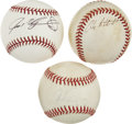 Autographs:Baseballs, All-Star Single Signed Baseballs -- Alex Rodriguez, Ivan Rodriguez,Andy Pettitte Lot of 3. Three signed baseballs of modern...