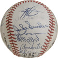 Autographs:Baseballs, 1987 Old Timer's Multi-Signed Baseball. 1987 saw the 25thAnniversary of the Old Timers game. The offered ONL ( Feeney)base...