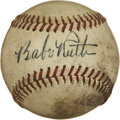 Autographs:Baseballs, 1940s Babe Ruth Single Signed Baseball. Visible from a full country mile, this stellar Babe Ruth single carries with it man...