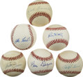 Autographs:Baseballs, Vintage Baseball Stars Single Signed Baseballs Lot of 6. Qualitycollection of one half dozen single signed baseballs from ...