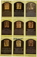 Autographs:Post Cards, Signed Gold Hall of Fame Plaques Lot of 9. Group of nine of the signed gold Hall of Fame plaque postcards, including contri...
