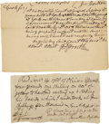 Autographs:Statesmen, Oliver Ellsworth (1745-1807) Autograph Document Signed... (Total: 2Items)