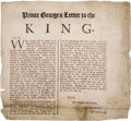 Books:Manuscripts, [Protestant Reformation]. Prince George of Denmark. GloriousRevolution Broadside....